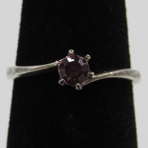 Size 4 Sterling Silver Rustic Pink Crystal Ring